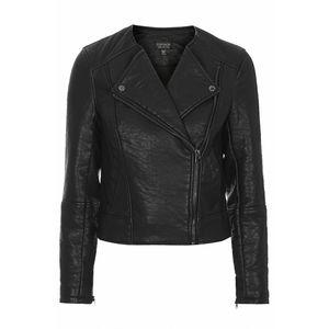 Topshop petite collarless faux leather moto jacket